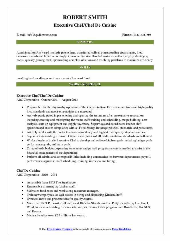 Executive Chef/Chef De Cuisine Resume Example