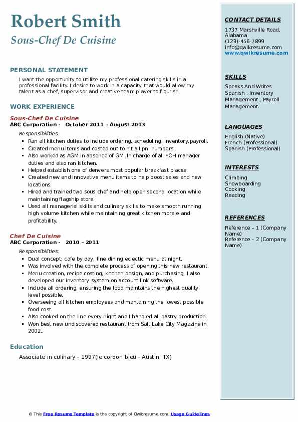 chef de cuisine resume samples