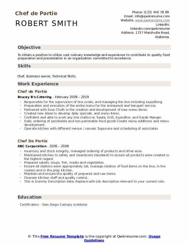 Chef De Partie Resume example
