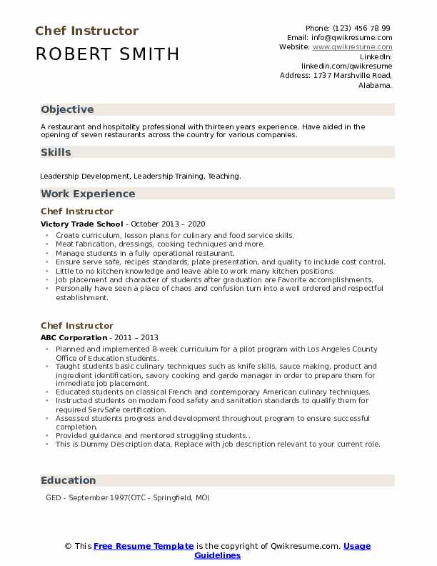 Chef Instructor Resume example