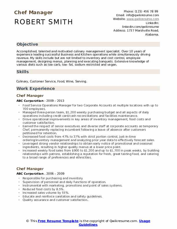 Chef Manager Resume Model