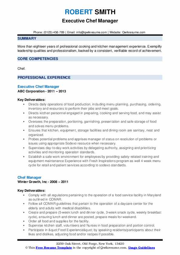 Executive Chef Manager Resume Template