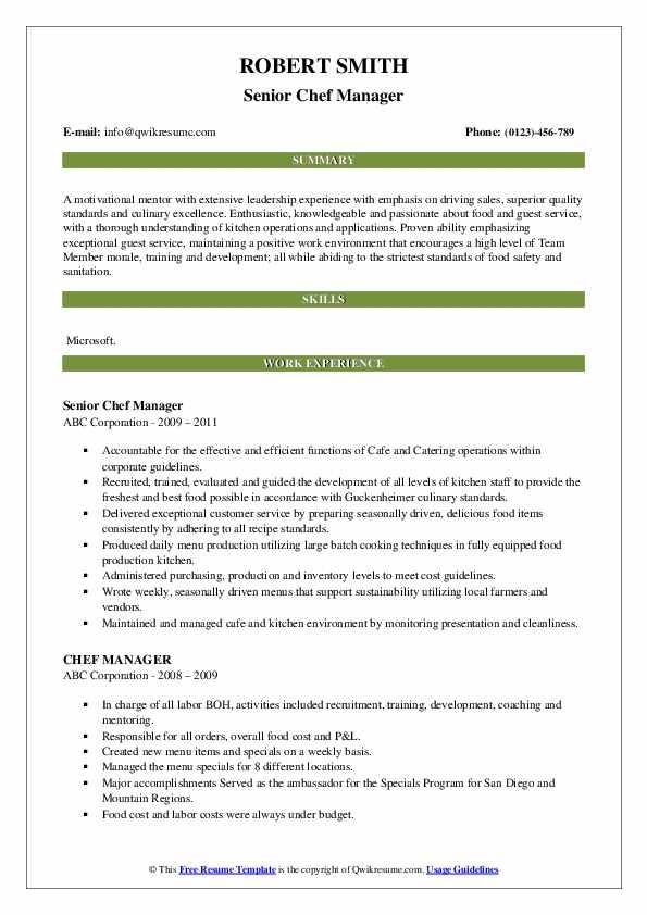 Senior Chef Manager Resume Format