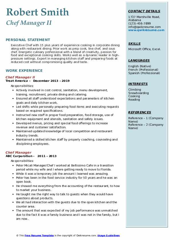 Chef Manager II Resume Format