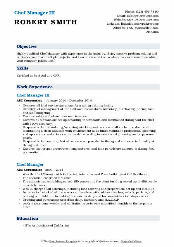 Chef Manager III Resume Sample