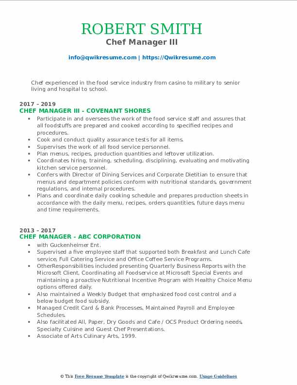 Chef Manager III Resume Format