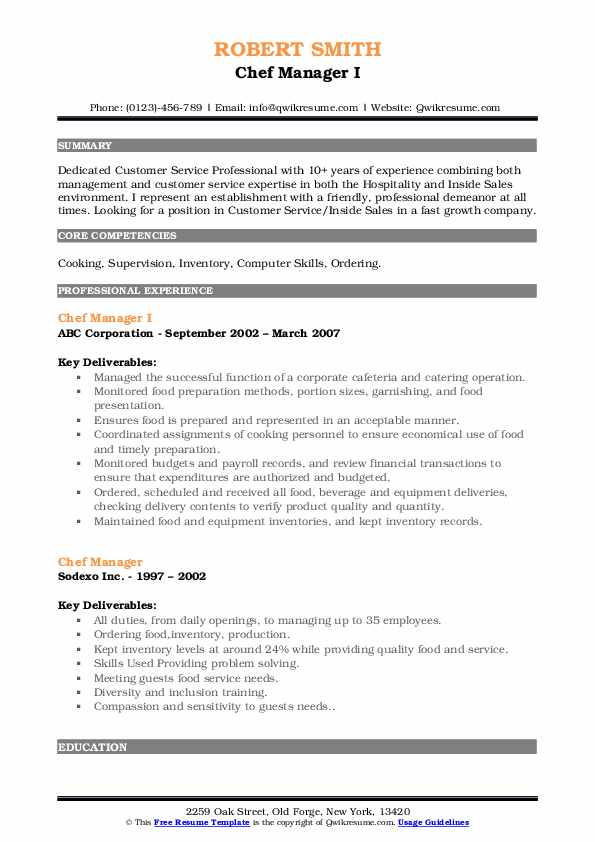 Chef Manager I Resume Example