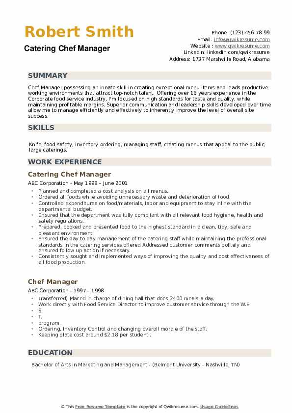 Catering Chef Manager Resume Format