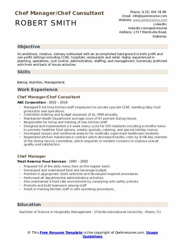 Chef Manager/Chef Consultant Resume Model