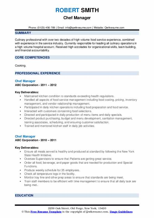 Chef Manager Resume example