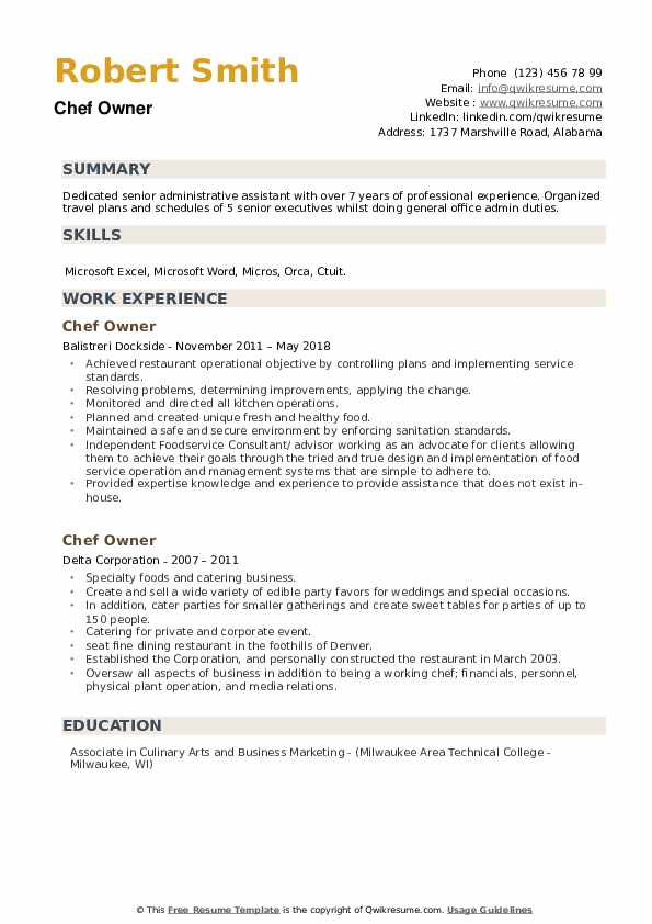 Chef Owner Resume example