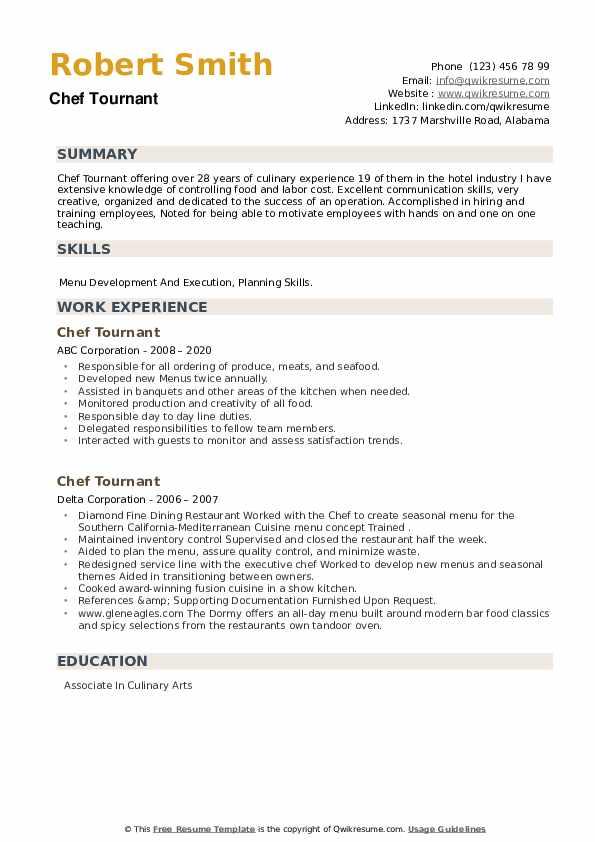 Chef Tournant Resume example