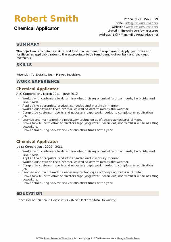 Chemical Applicator Resume example