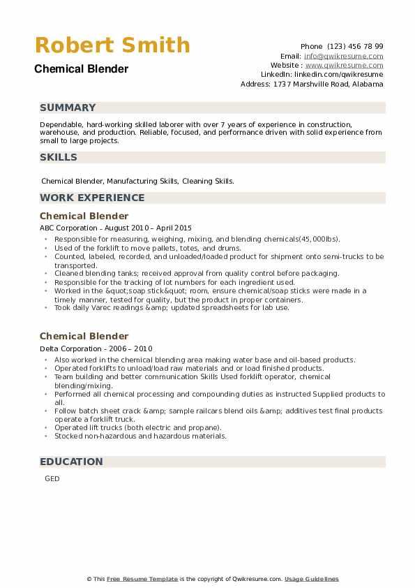 Chemical Blender Resume example