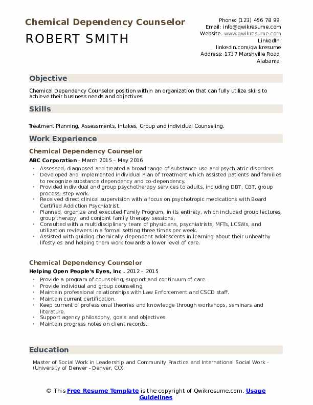 Chemical Dependency Counselor Resume Model