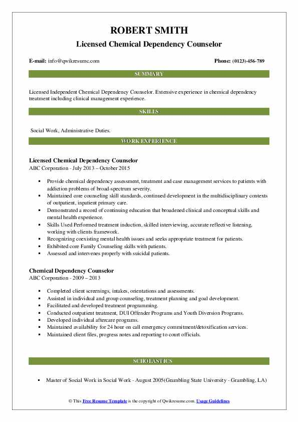 Licensed Chemical Dependency Counselor Resume Sample