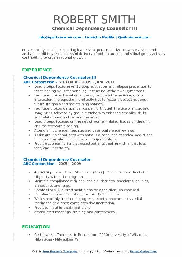 Chemical Dependency Counselor III Resume Model