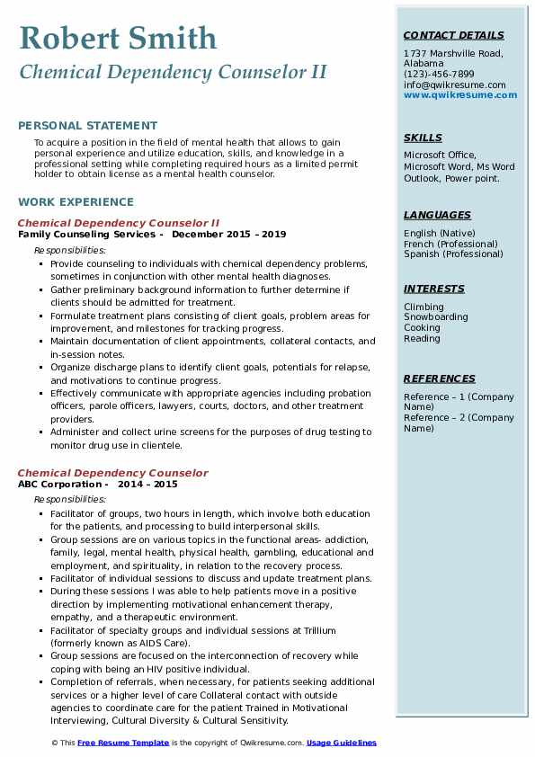 Chemical Dependency Counselor II Resume Model