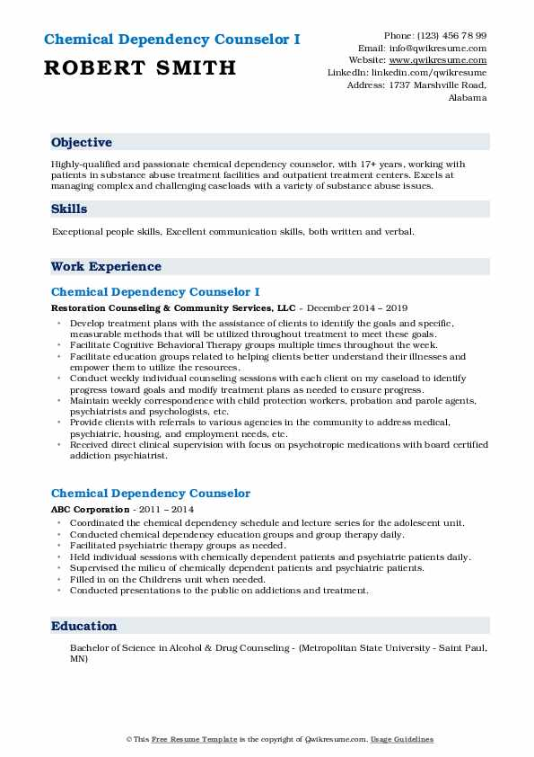 Chemical Dependency Counselor I Resume Model