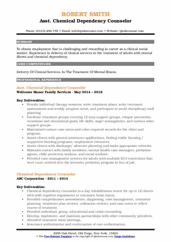Chemical Dependency Counselor Resume Samples Qwikresume