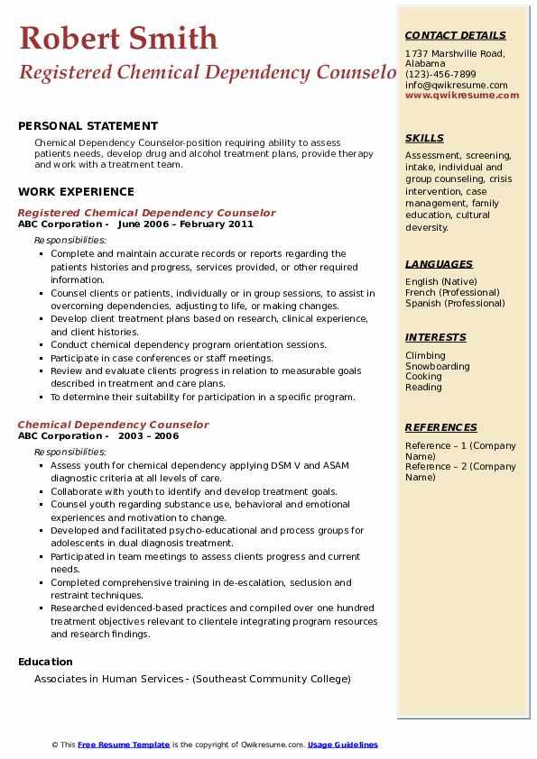 Registered Chemical Dependency Counselor Resume Sample