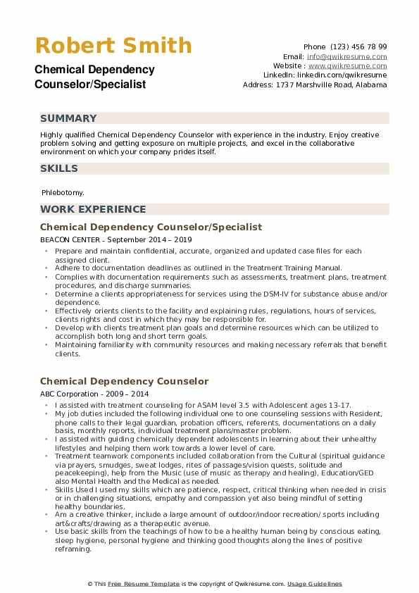 Chemical Dependency Counselor/Specialist Resume Format