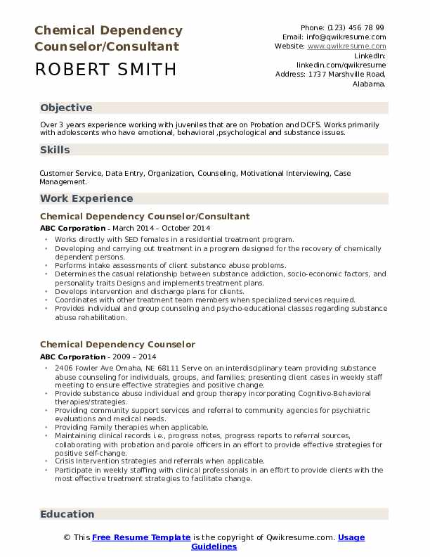 Chemical Dependency Counselor/Consultant Resume Sample