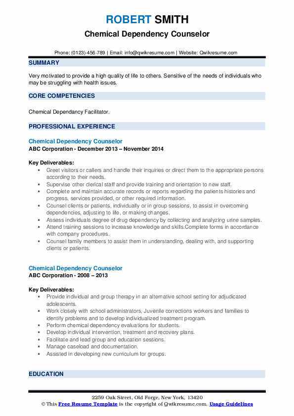 Chemical Dependency Counselor Resume example