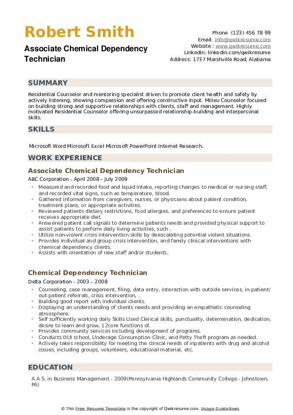 Chemical Dependency Technician Resume example