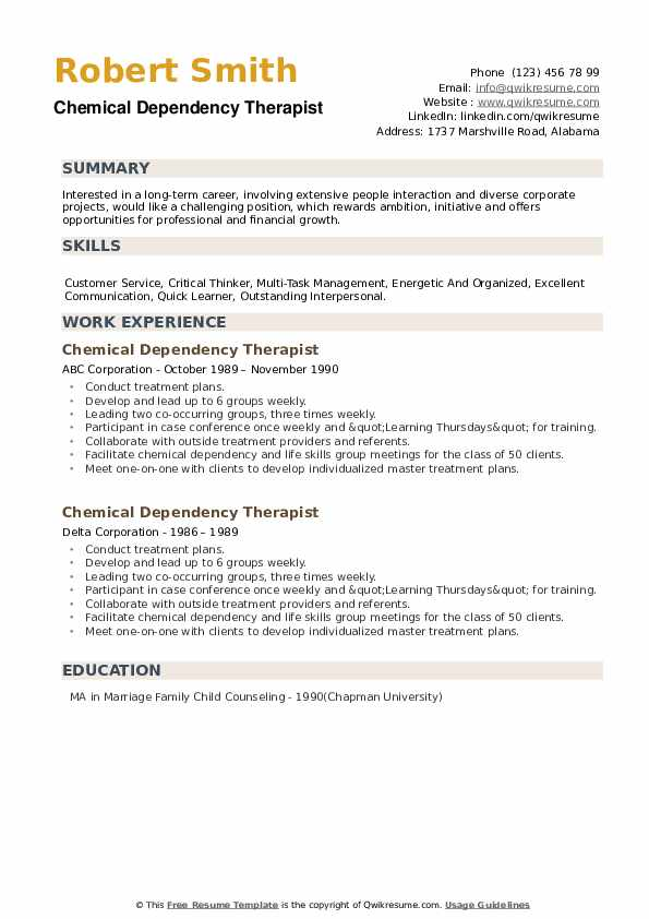 Chemical Dependency Therapist Resume example