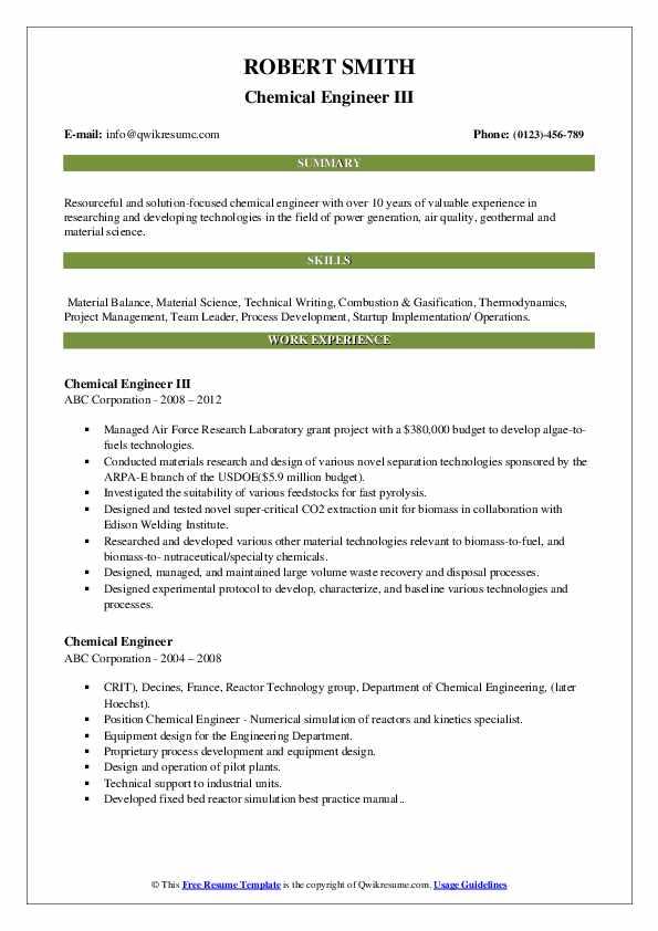 Chemical Engineer III Resume Example