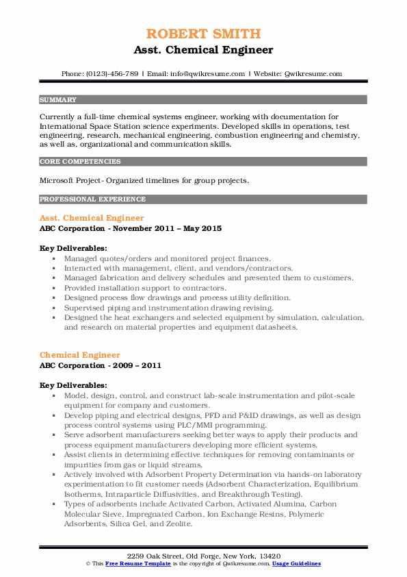 Asst. Chemical Engineer Resume Template