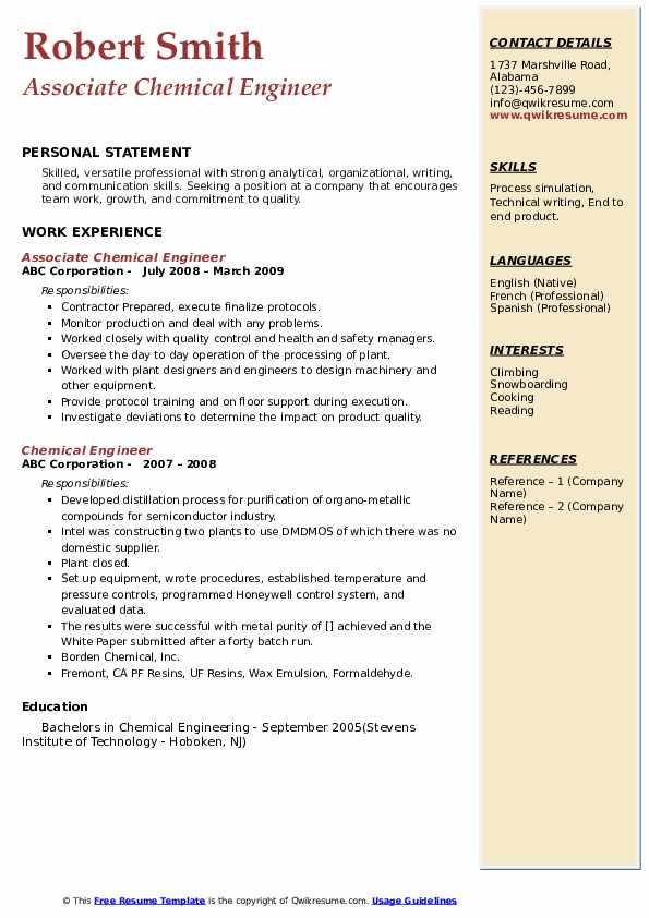 Associate Chemical Engineer Resume Format