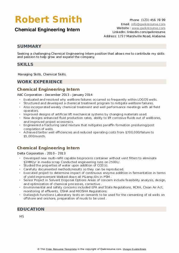 Chemical Engineering Intern Resume example