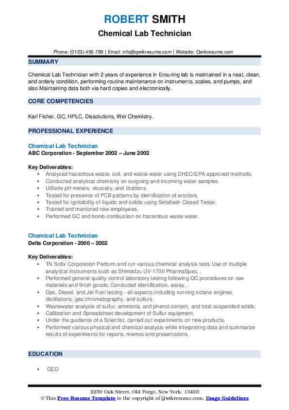 chemical lab technician resume samples  qwikresume