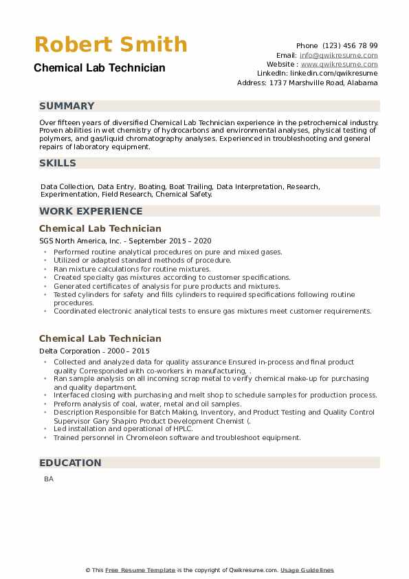 Chemical Lab Technician Resume example