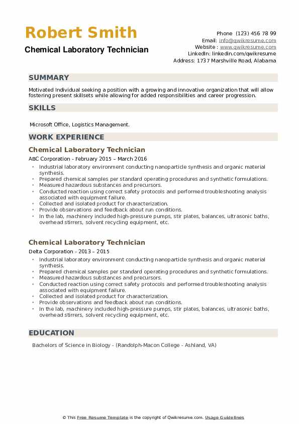 Chemical Laboratory Technician Resume example