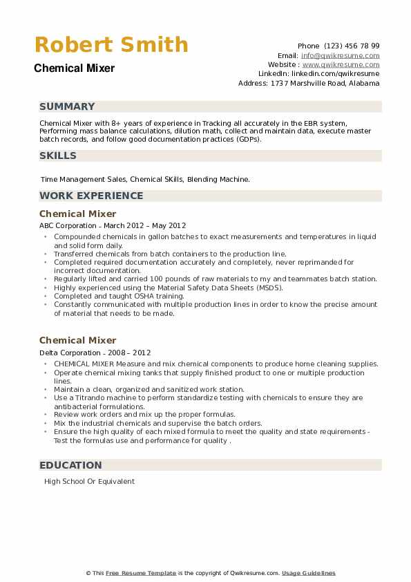 Chemical Mixer Resume example
