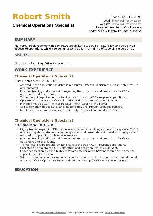 Chemical Operations Specialist Resume example