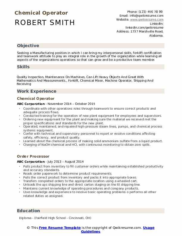 petrochemical operator resume
