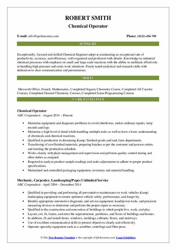 Chemical Operator Resume Format