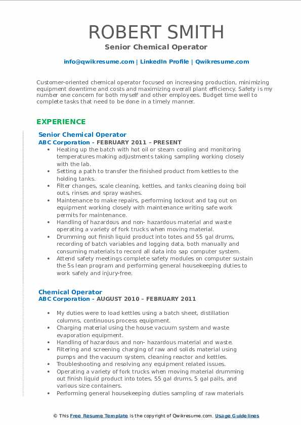 Senior Chemical Operator Resume Format