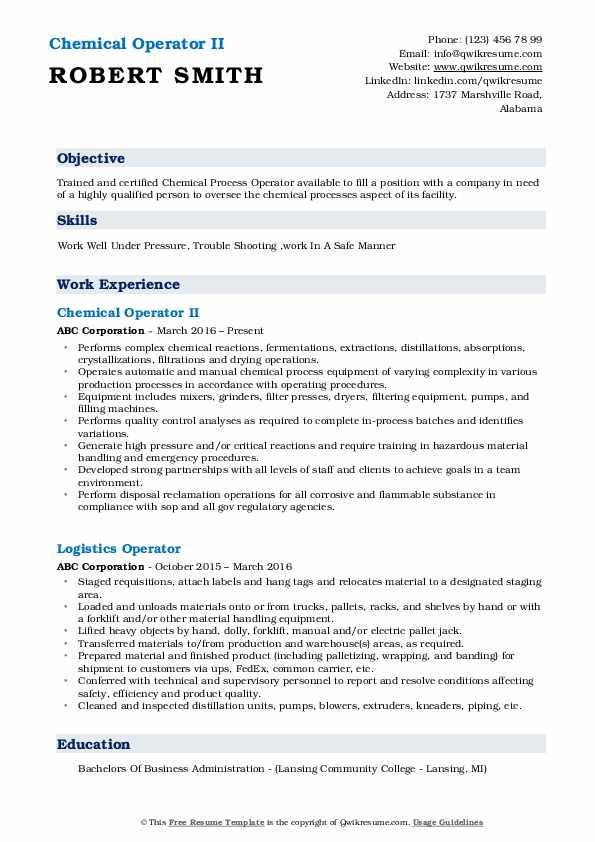 Chemical Operator II Resume Sample