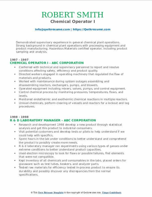 Chemical Operator I Resume Format