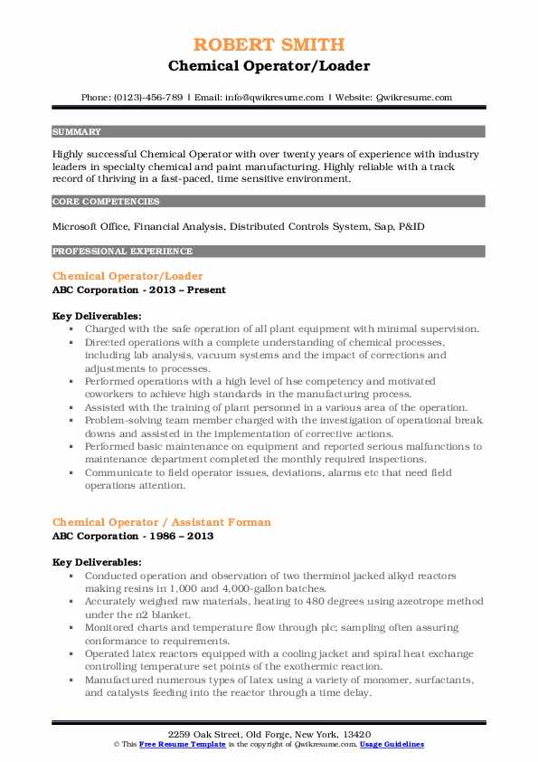 chemical operator resume samples