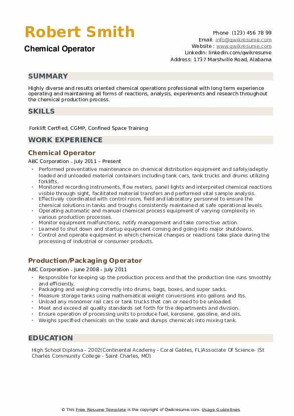 Chemical Operator Resume example