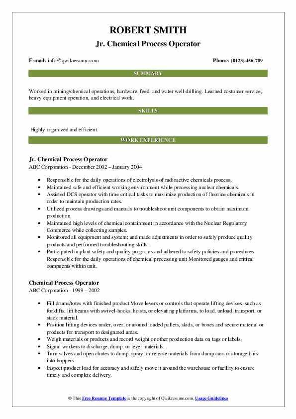 Jr. Chemical Process Operator Resume Sample