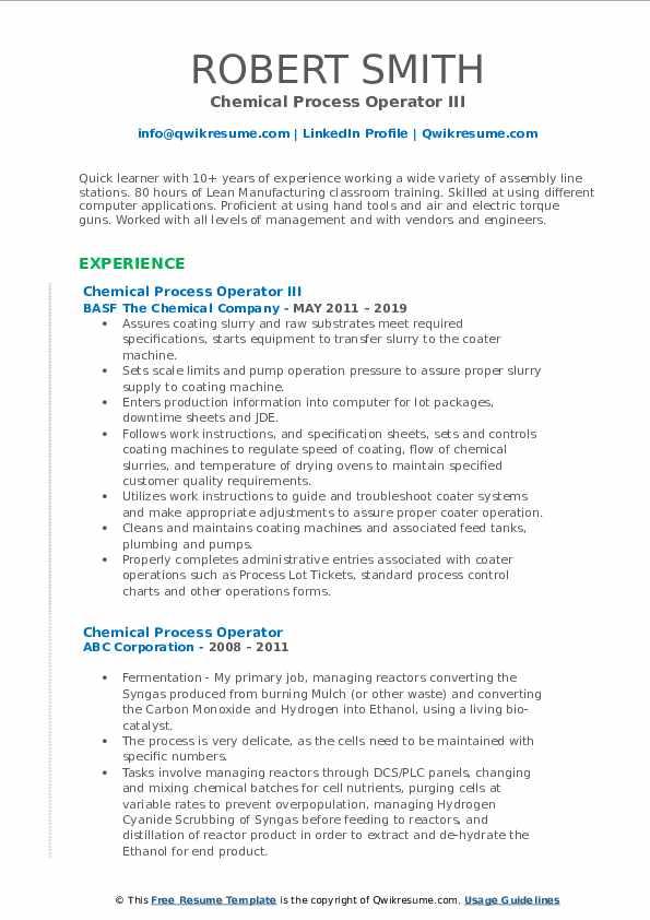 Chemical Process Operator III Resume Sample