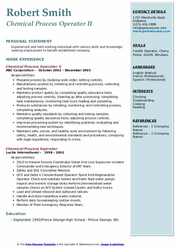 Chemical Process Operator II Resume Sample