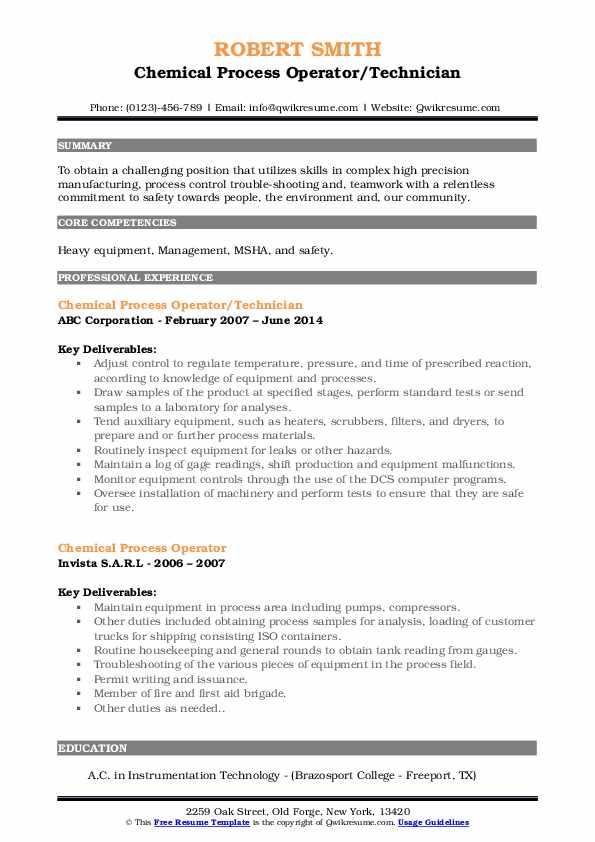 Chemical Process Operator/Technician Resume Format